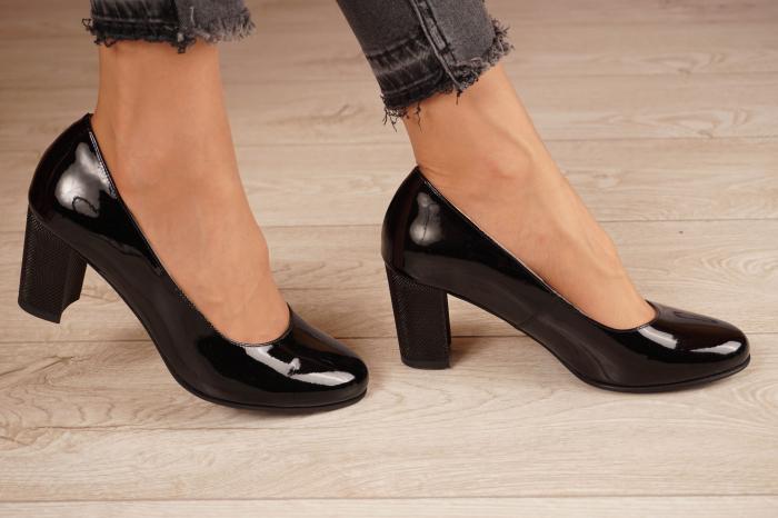 Pantofi dama din piele naturala lacuita neagra MSPD190-21 [2]