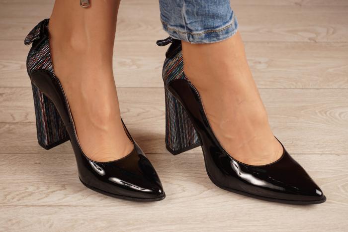 Pantofi dama din piele naturala lacuita neagra MSPD51017-1-20 [0]