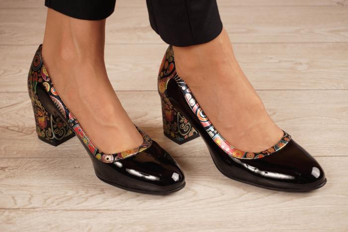 Pantofi dama din piele naturala lacuita neagra MSPD52318-1-20 [0]