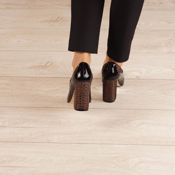 Pantofi dama din piele naturala lacuita neagra MSPD53520-20 [3]