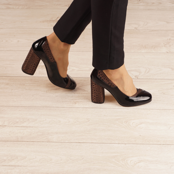 Pantofi dama din piele naturala lacuita neagra MSPD53520-20 [0]
