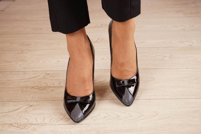 Pantofi dama din piele naturala lacuita neagra MSPD58820-20 [2]