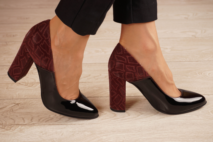 Pantofi dama din piele naturala lacuita neagra MSPD59619-20 [1]