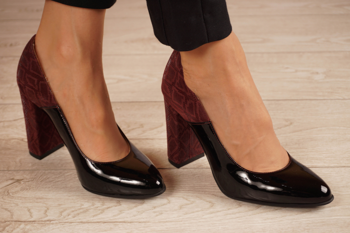 Pantofi dama din piele naturala lacuita neagra MSPD59619-20 [0]