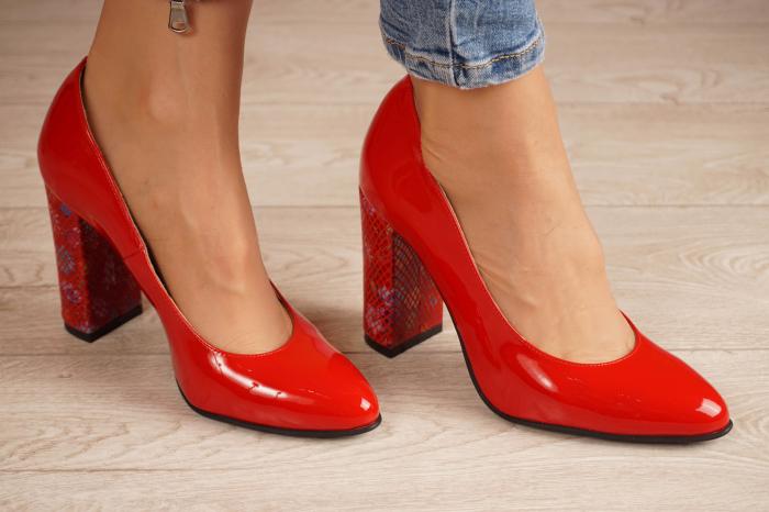 Pantofi dama din piele naturala lacuita rosie MSPD53719-4-20 [0]