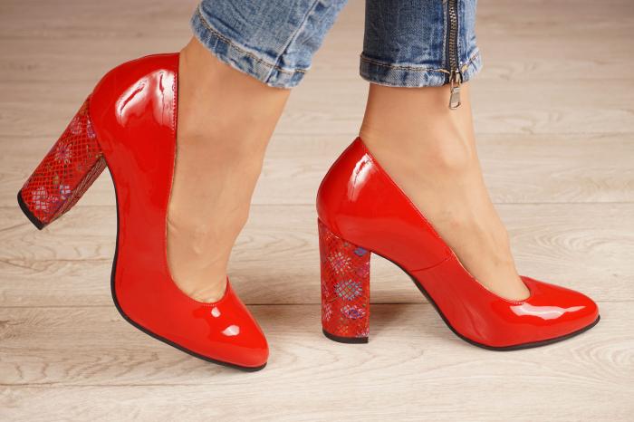 Pantofi dama din piele naturala lacuita rosie MSPD53719-4-20 [1]