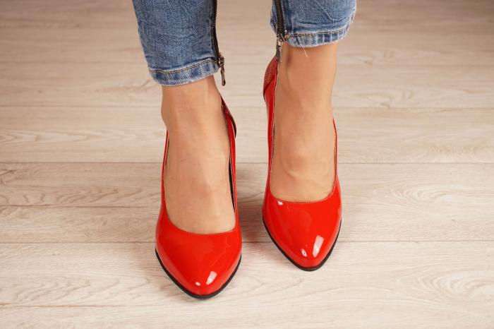 Pantofi dama din piele naturala lacuita rosie MSPD60620-20 [2]