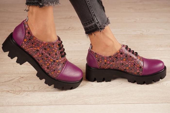 Pantofi dama din piele naturala mov MSPD58618-21 [2]