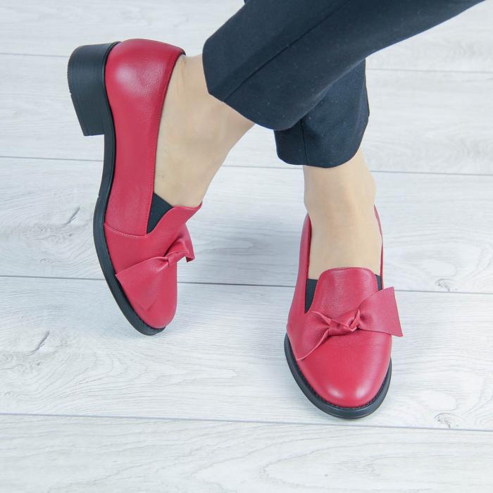 Pantofi dama din piele naturala bizonata rosie MSPD57319-2-20 0