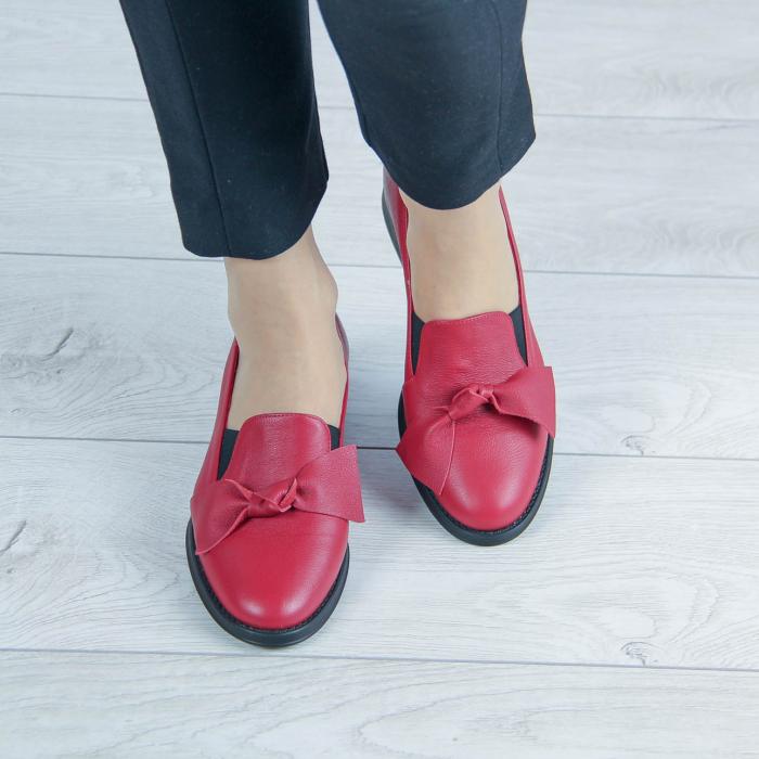 Pantofi dama din piele naturala bizonata rosie MSPD57319-2-20 1