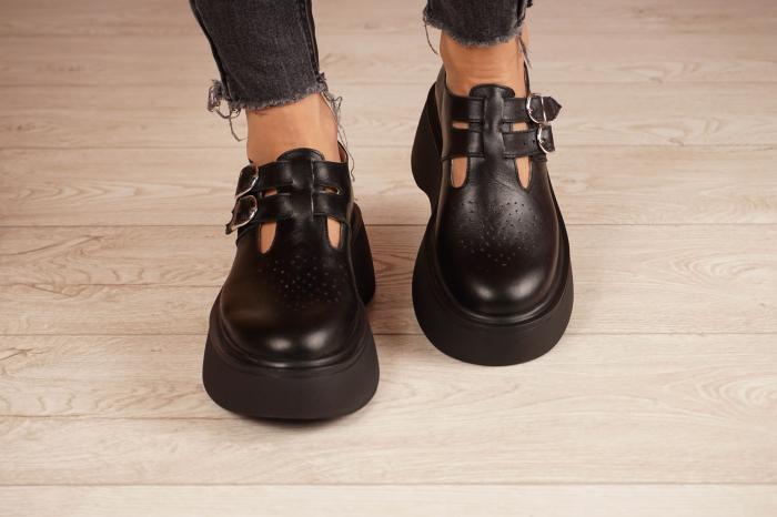 Pantofi dama din piele naturala neagra MSPD51021-21 [3]