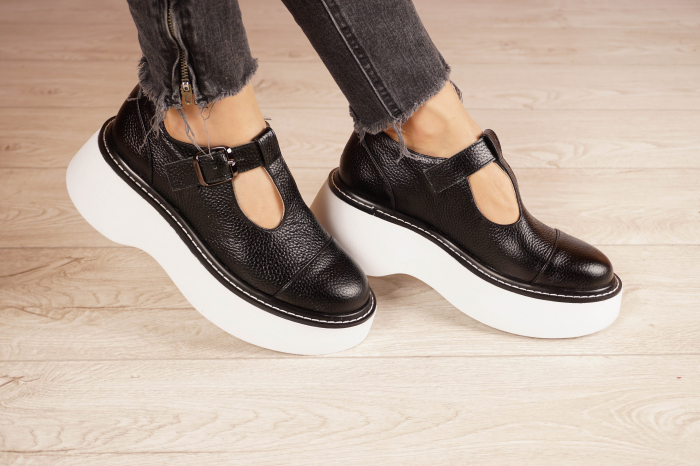 Pantofi dama din piele naturala neagra MSPD51821-21 [0]