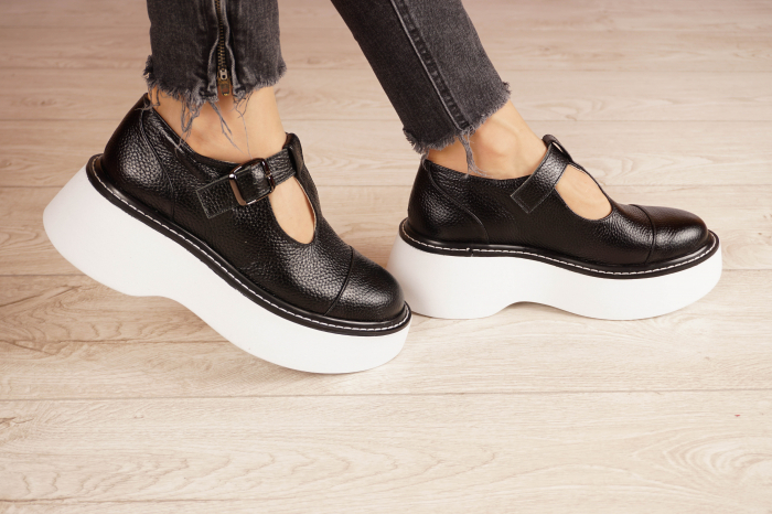 Pantofi dama din piele naturala neagra MSPD51821-21 [2]