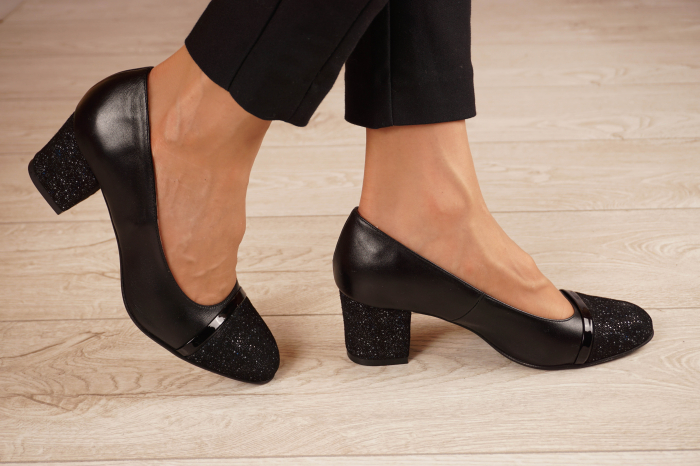 Pantofi dama din piele naturala neagra MSPD52519-1-20 [1]