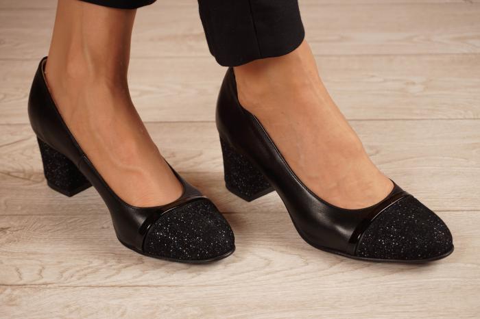 Pantofi dama din piele naturala neagra MSPD52519-1-20 [0]