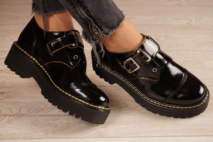 Pantofi dama din piele naturala neagra MSPD54821-21 [0]