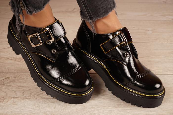 Pantofi dama din piele naturala neagra MSPD54821-21 [1]