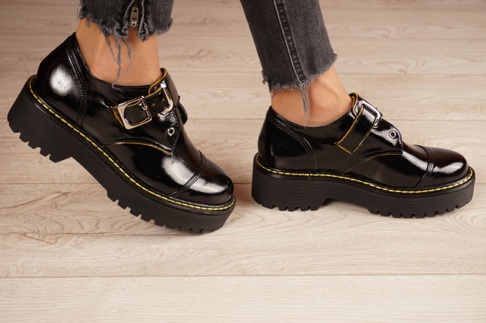 Pantofi dama din piele naturala neagra MSPD54821-21 [2]