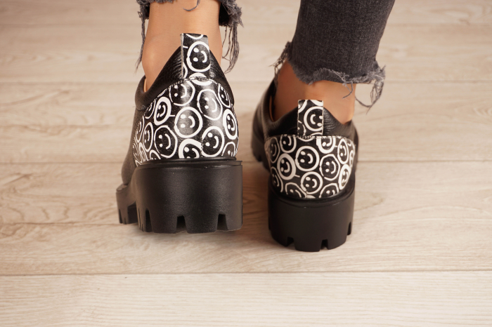 Pantofi dama din piele naturala neagra MSPD56620-2-20 4