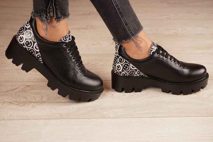 Pantofi dama din piele naturala neagra MSPD56620-2-20 2