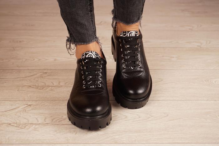 Pantofi dama din piele naturala neagra MSPD56620-2-20 3