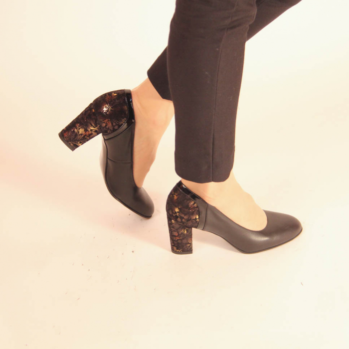 Pantofi dama din piele naturala neagra MSPD57019-20 [0]