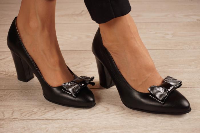 Pantofi dama din piele naturala neagra MSPD57220-1-20 [0]