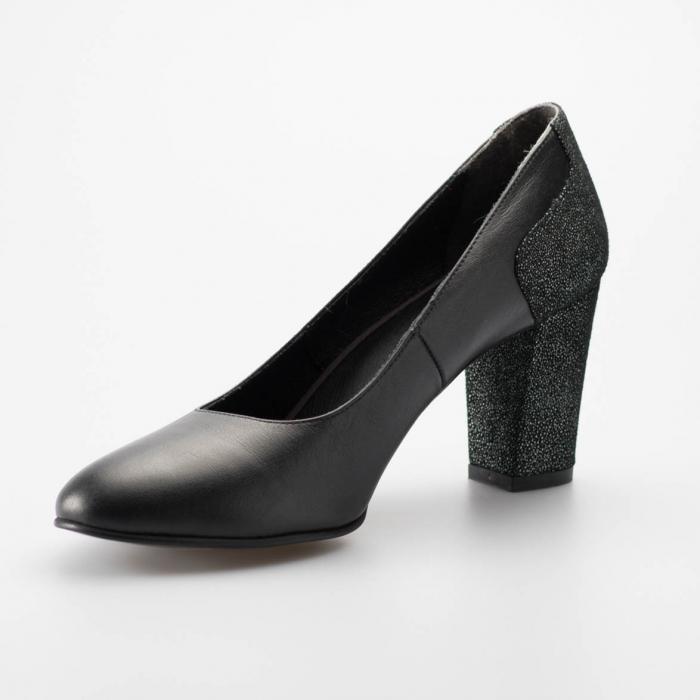Pantofi dama din piele naturala neagra MSPD57818-19 [0]
