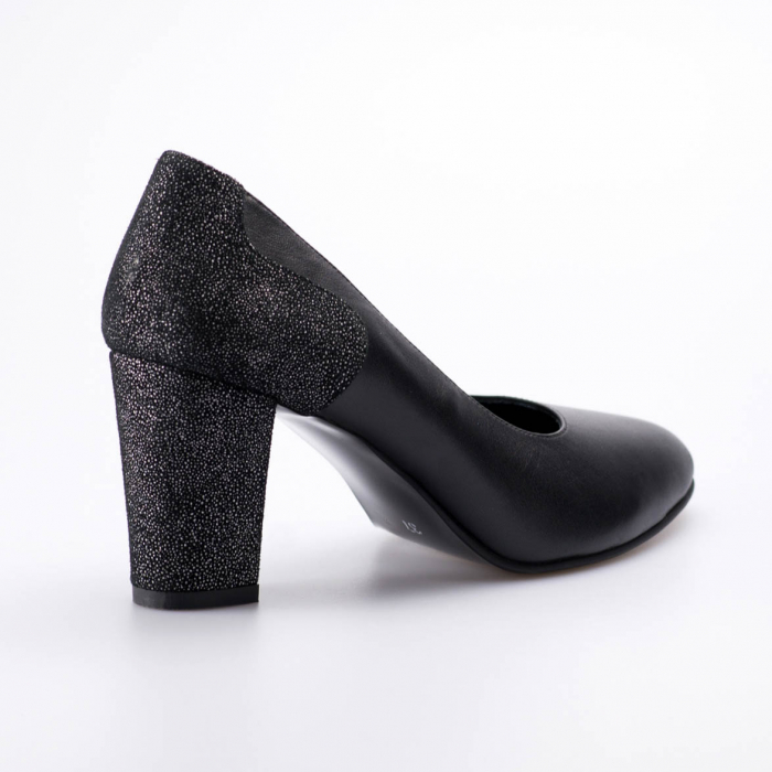 Pantofi dama din piele naturala neagra MSPD57818-19 [2]