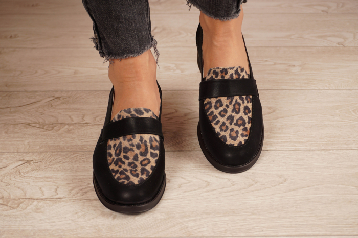 Pantofi dama din piele naturala neagra MSPD58120-21 [3]