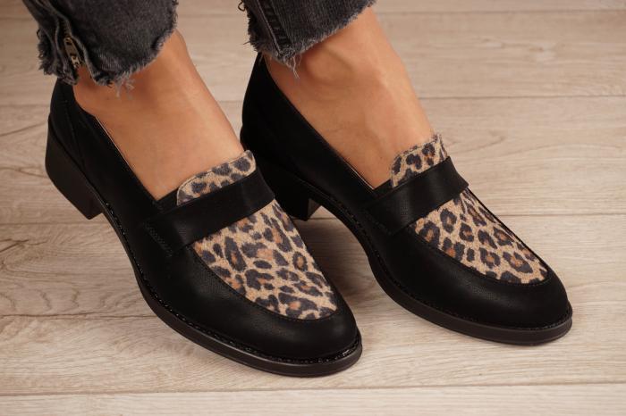 Pantofi dama din piele naturala neagra MSPD58120-21 [1]