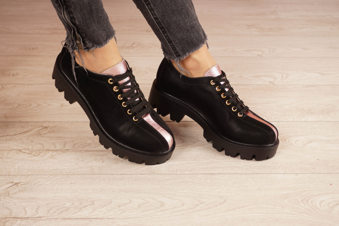 Pantofi dama din piele naturala neagra MSPD61420-21 [0]