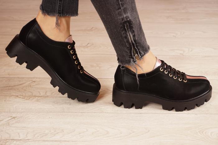 Pantofi dama din piele naturala neagra MSPD61420-21 [2]