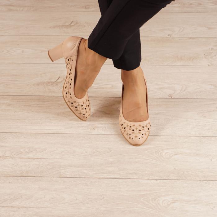 Pantofi dama din piele naturala nude laserata MSPD51820L46-20 [1]