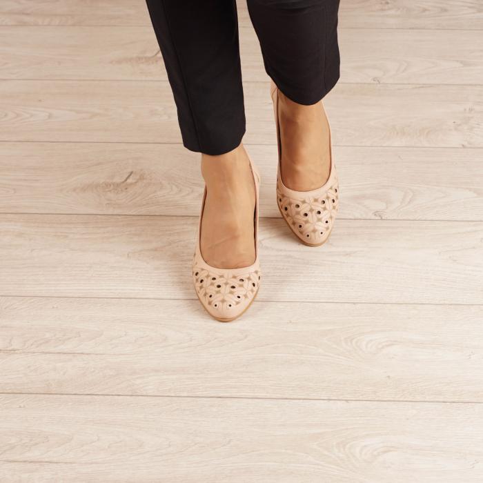Pantofi dama din piele naturala nude laserata MSPD51820L46-20 [2]