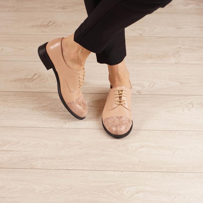 Pantofi dama din piele naturala nude MSPD59016-3-20 1