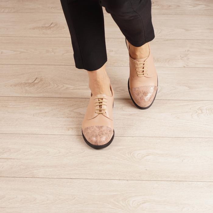 Pantofi dama din piele naturala nude MSPD59016-3-20 2
