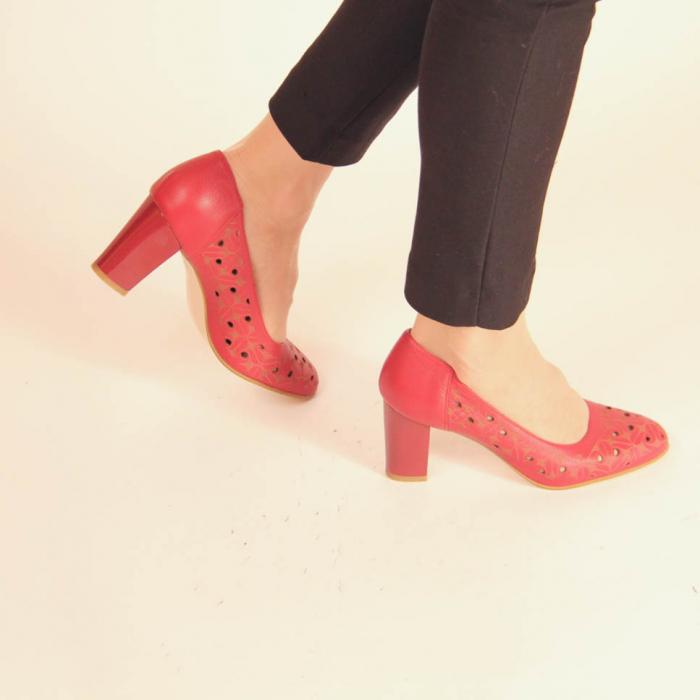 Pantofi dama din piele naturala rosie laserata MSPD51820L38-20 [0]