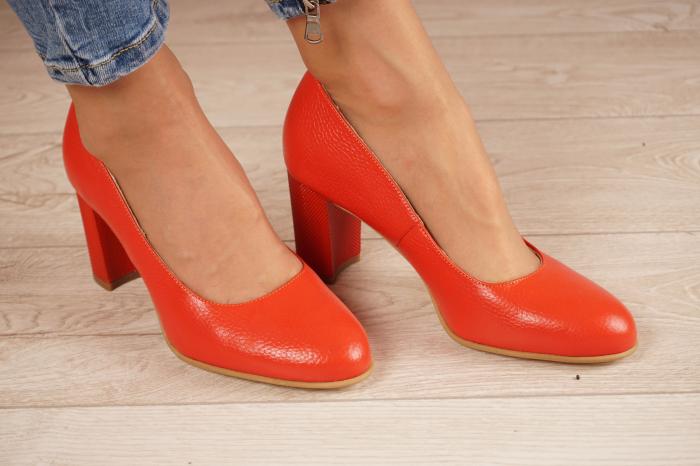 Pantofi dama din piele naturala rosie MSPD52017-1-21 [1]