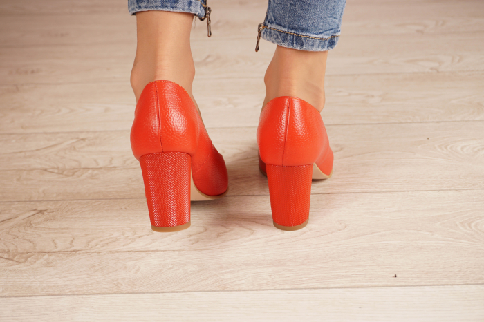 Pantofi dama din piele naturala rosie MSPD52017-1-21 [3]