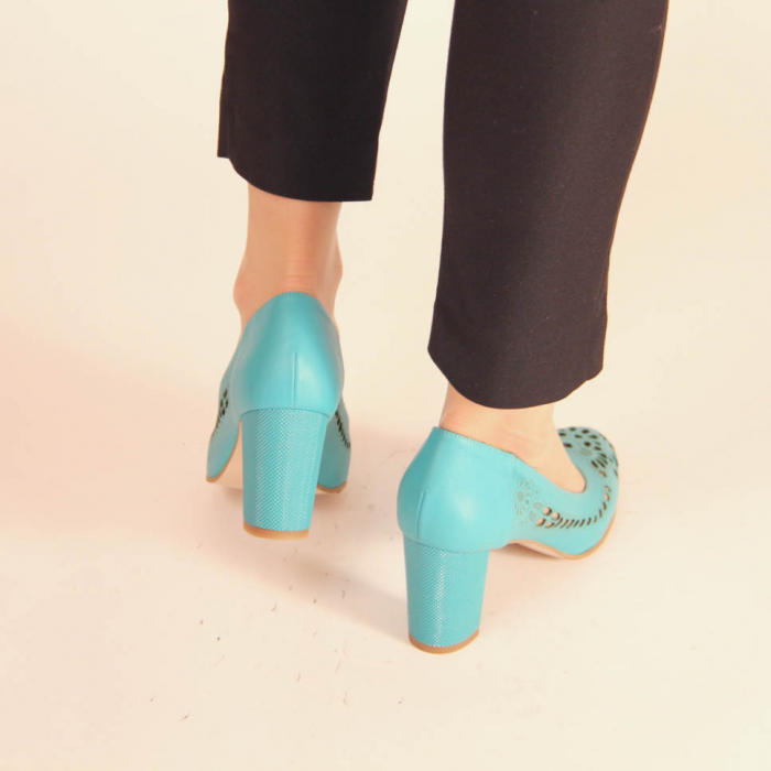Pantofi dama din piele naturala turcoaz laserata MSPD51820L39-20 [2]