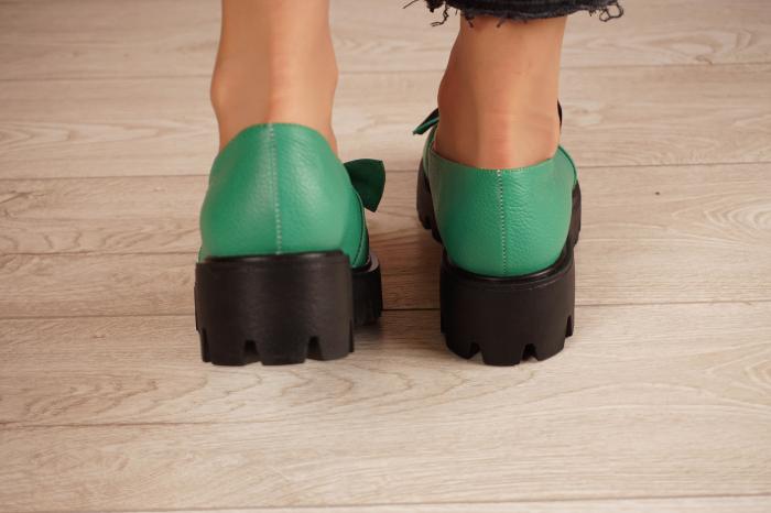 Pantofi dama din piele naturala verde MSPD57319-21 [4]