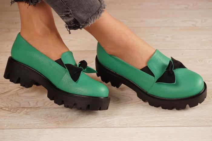 Pantofi dama din piele naturala verde MSPD57319-21 [1]