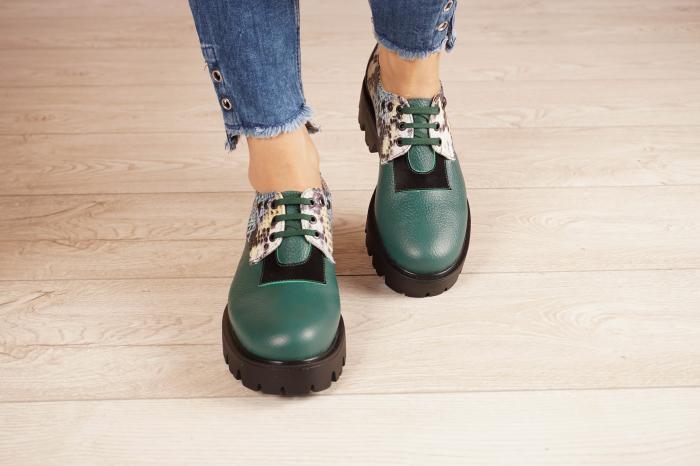 Pantofi dama din piele naturala verde MSPD60020-21 [3]