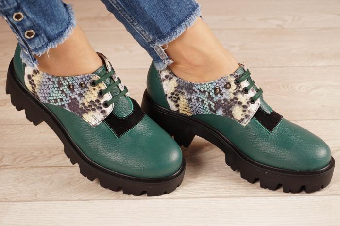 Pantofi dama din piele naturala verde MSPD60020-21 [0]