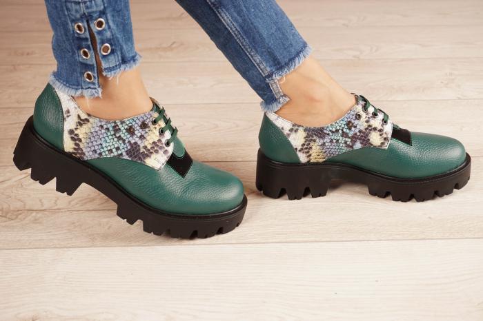 Pantofi dama din piele naturala verde MSPD60020-21 [2]