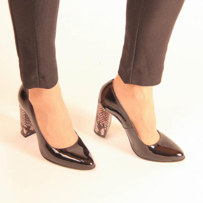 Pantofi dama din piele naturala lacuita neagra MSPD190-10-20 [0]