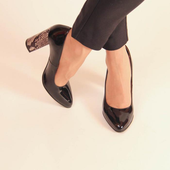 Pantofi dama din piele naturala lacuita neagra MSPD190-10-20 [1]