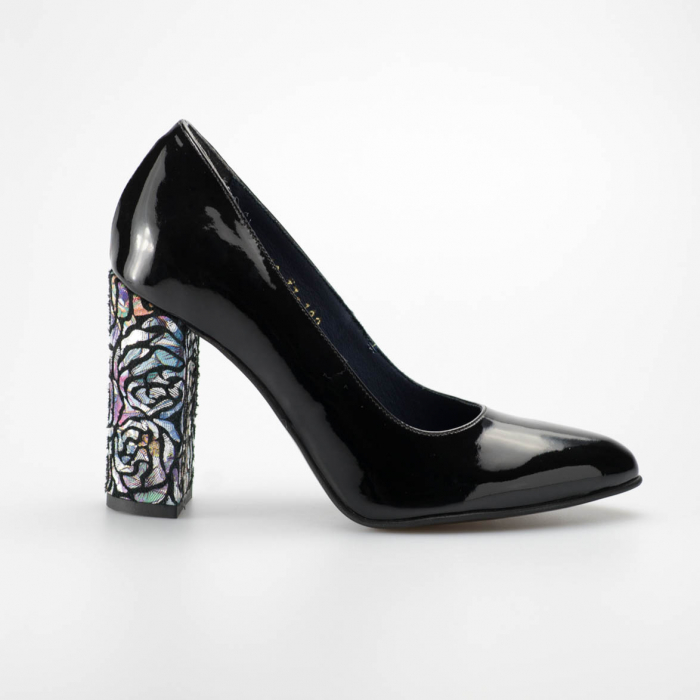 Pantofi dama din piele naturala lacuita neagra MSPD190-13-19 [0]