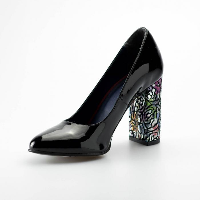 Pantofi dama din piele naturala lacuita neagra MSPD190-13-19 [2]